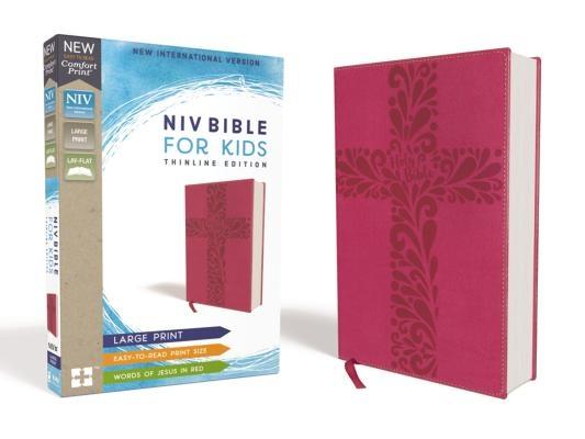 Niv, Bible for Kids, Large Print, Leathersoft, Pink, Red Letter, Comfort Print