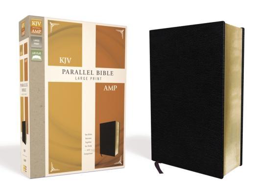 KJV, Amplified, Parallel Bible, Large Print, Bonded Leather, Black, Red Letter Edition