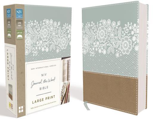 NIV, Journal the Word Bible, Large Print, Imitation Leather, Blue/Tan