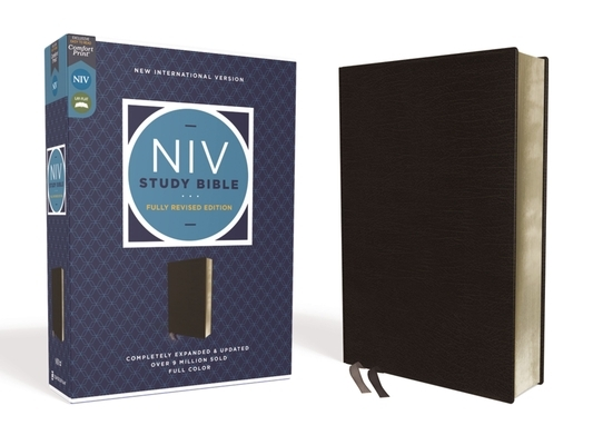 NIV Study Bible, Fully Revised Edition, Bonded Leather, Black, Red Letter, Comfort Print