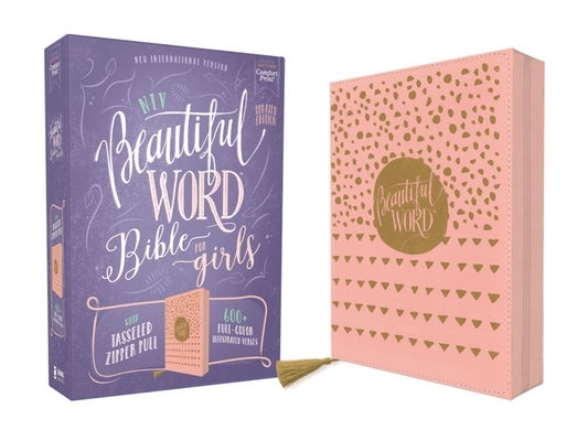 Niv, Beautiful Word Bible for Girls, Updated Edition, Leathersoft, Zippered, Pink, Red Letter, Comfort Print: 600+ Full-Color Illustrated Verses
