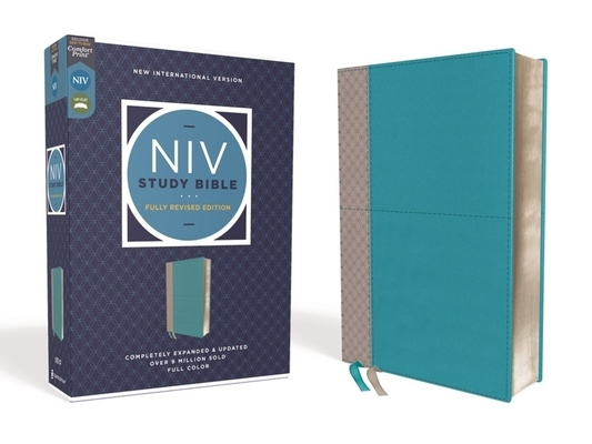 NIV Study Bible, Fully Revised Edition, Leathersoft, Teal/Gray, Red Letter, Comfort Print