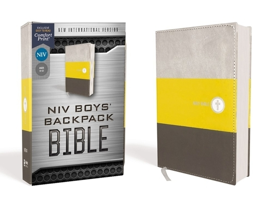 Niv, Boys' Backpack Bible, Compact, Leathersoft, Yellow/Gray, Red Letter Edition, Comfort Print