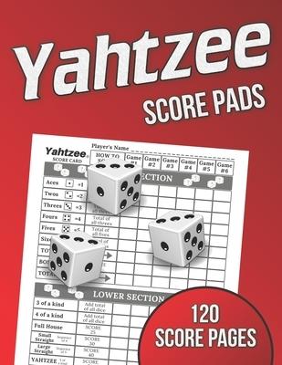 Yahtzee Score Pads: 120 Score Pages, Large Print Size 8.5 x 11 in, Yahtzee Game Score Cards, Yahtzee Dice Board Game, Yahtzee Score Sheets