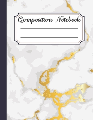 Composition Notebook: Glossy Marble Cover, Wide Ruled College Notepad 8.5 x 11 100 pages
